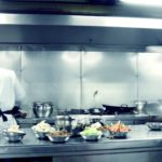 commercial kitchen with stainless steel kitchen equipment