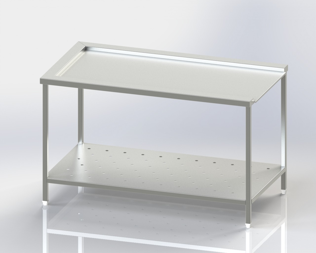 Dish Washer Outlet - Clean Dish Landing Table - Perforated Lower Shelf