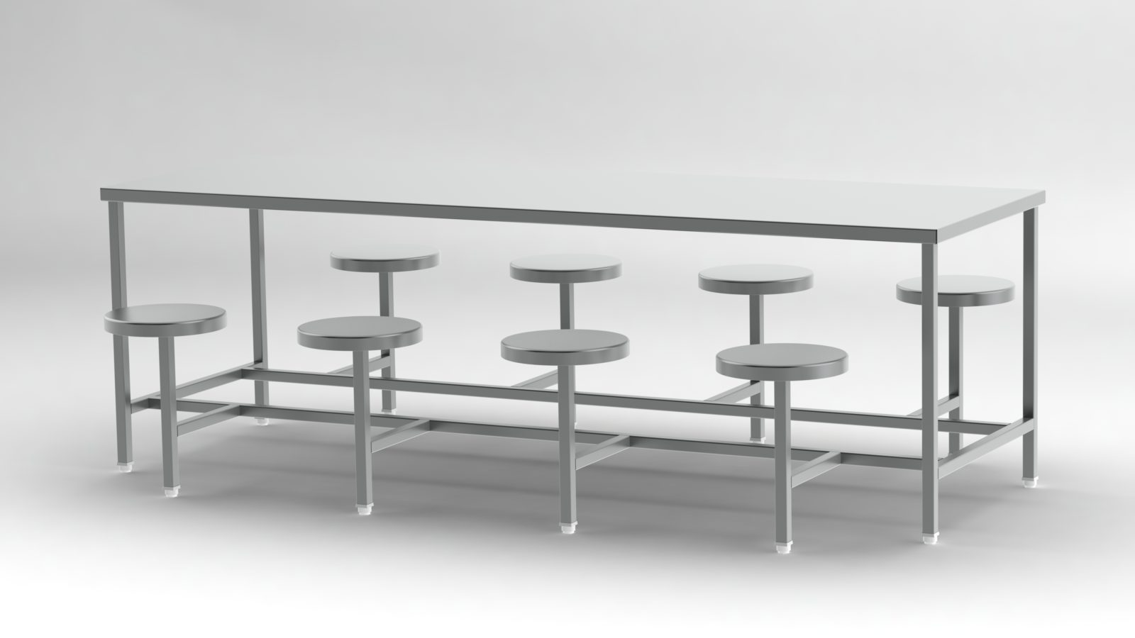 8 seater Fix ss dining table for canteen