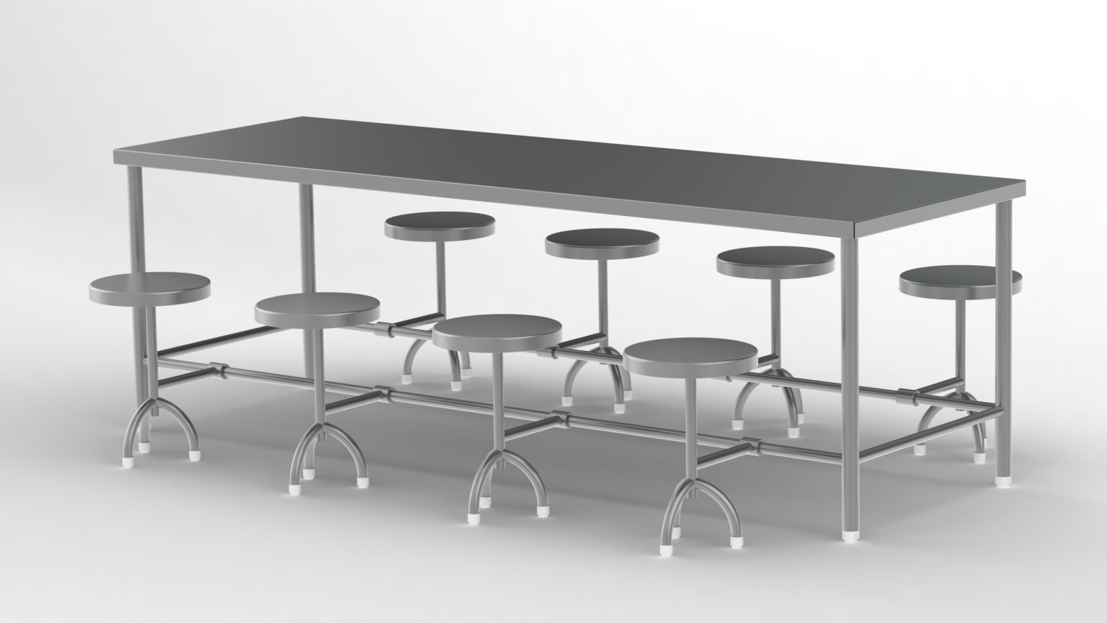 8 seater Folding ss Dining table for canteen