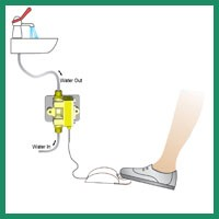foot operated tap for hand wash sanitary equipment