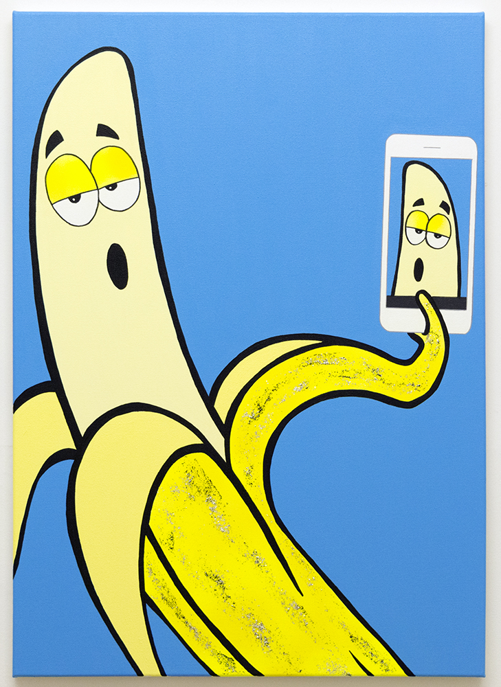 Banana Selfie (Cyan) 2018 Acrylic, lava texture gel and pearl mica flakes on canvas 100x70cm MICHAEL PYBUS