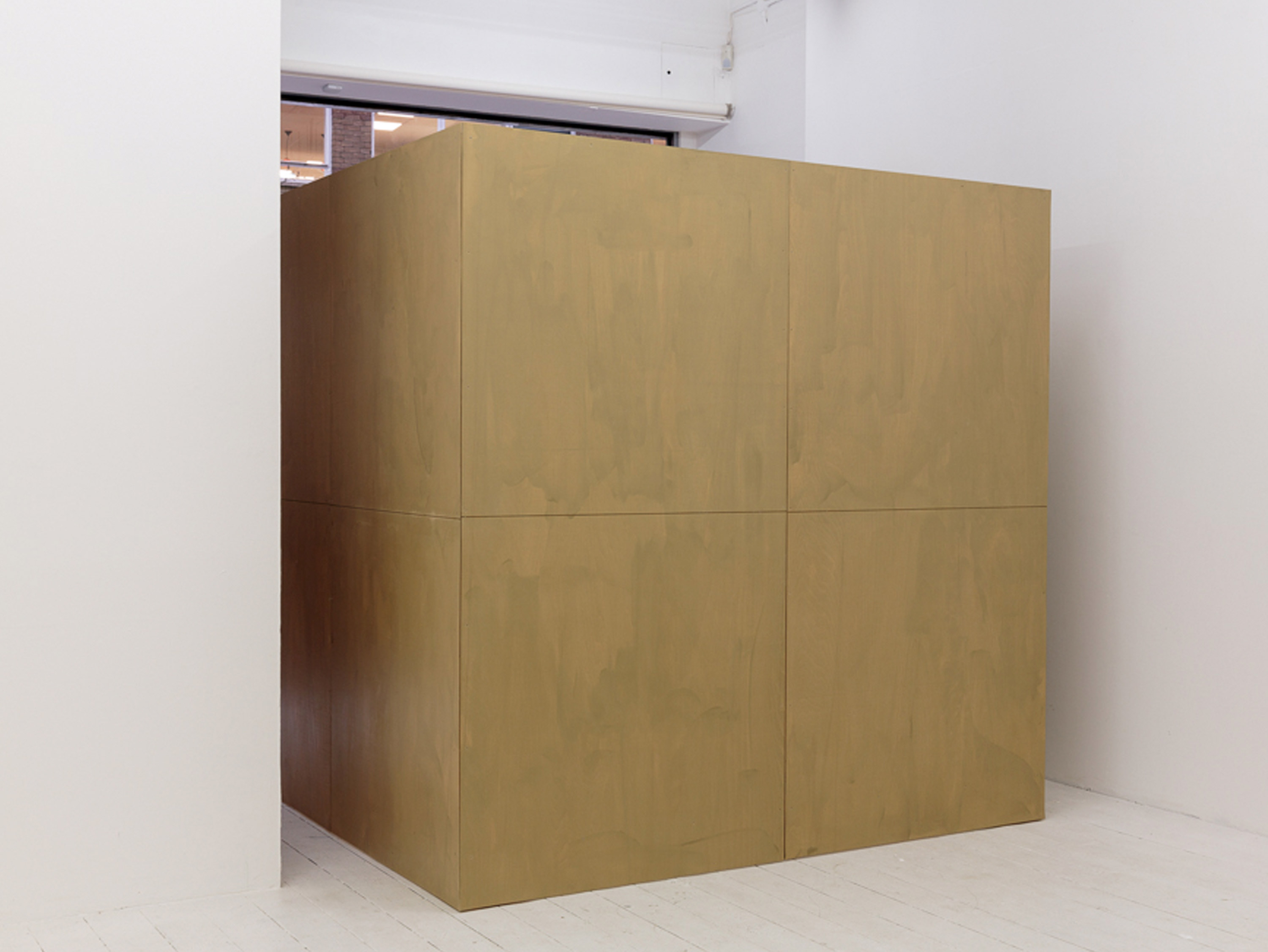 Jack Killick: Buffer (Moving-Cube-version-5) 2017. (Wood, metal and performative element; 212 x 212 x 212cm)