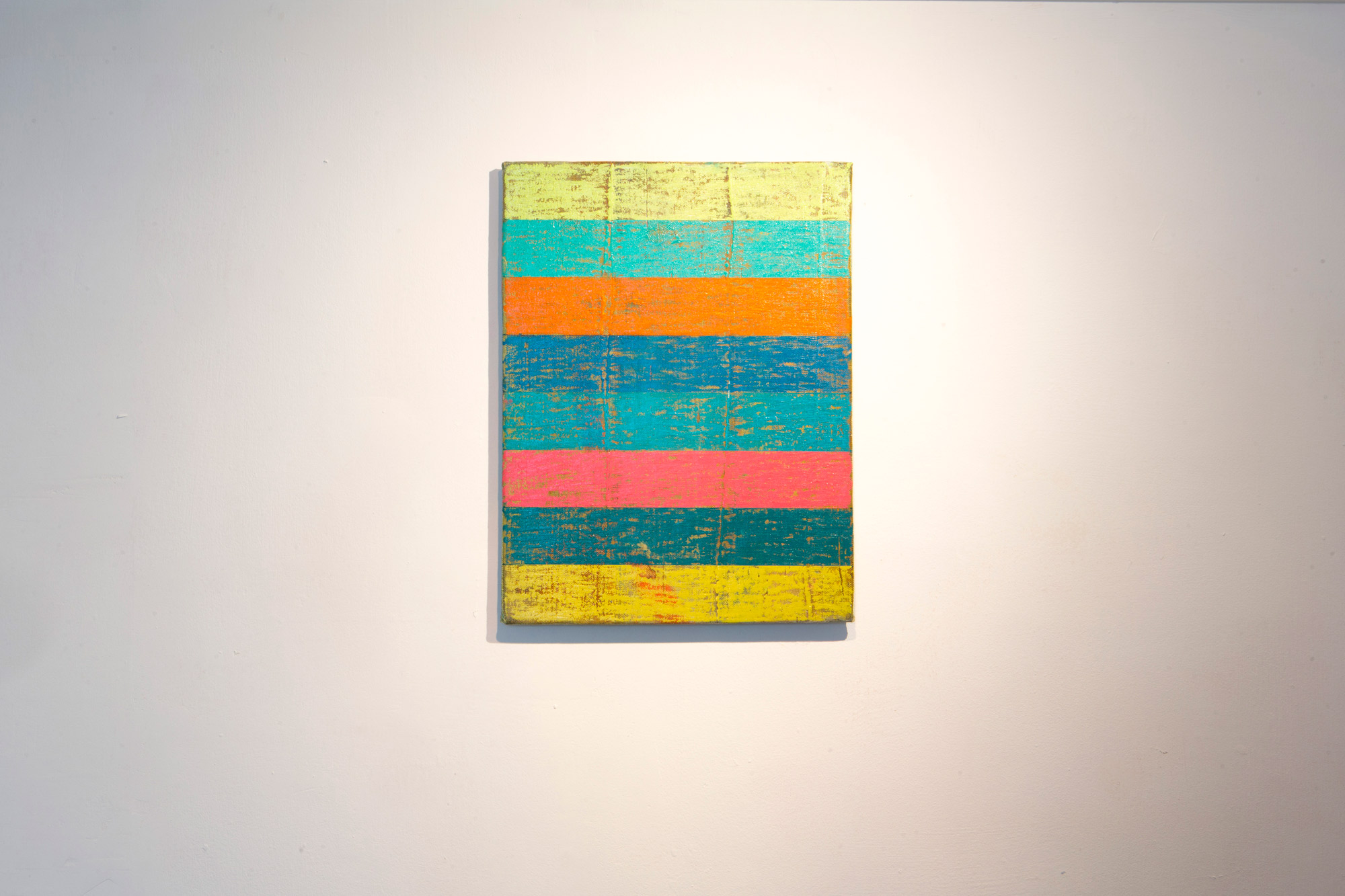 Rian Coughlan: Stripes (2019) Oil, oil bar and oil pastel on linen mounted on board, (31cm x 41cm).