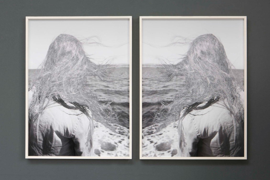William Mackrell: Back of Agnese's head (Double Messina) (2018) Etching on C-type Print Mounted and framed (2 frames) 115cm x 75 cm each