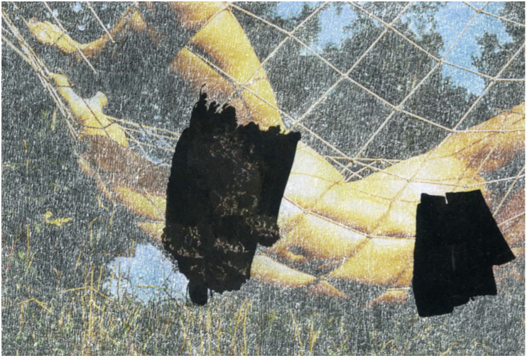 William Mackrell: Cover Up (Bloom) 2020 Etching on magazine print mounted on aluminium Mounted in UV acrylic case 18.5 cm x 12.5 cm