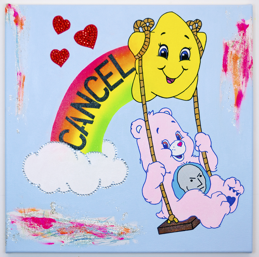 Michael Pybus: CANCEL 2020 Acrylic, glitter, pencil crayon, mica flakes and plastic gems on canvas 60x60cm