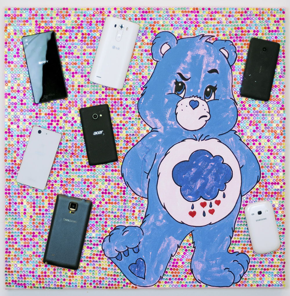 Michael Pybus: Selfie with smartphones and sparkles 2020 Acrylic, gems and dummp phones on canvas 60x60cm