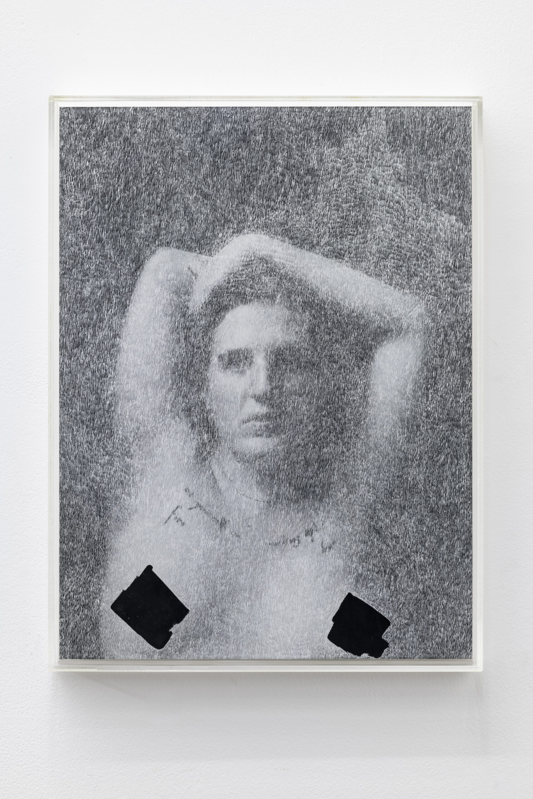 William Mackrell: Cover Up (Set yourself on fire) 2020 Etching on magazine print mounted on aluminium Mounted in UV acrylic case 30 cm x 22.5 cm