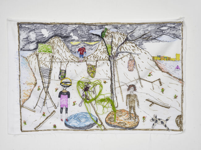Brian Dawn Chalkley: Figure in pink (2020) Pencil, felt tip and thread on cotton pillow case 75 cm x 45 cm