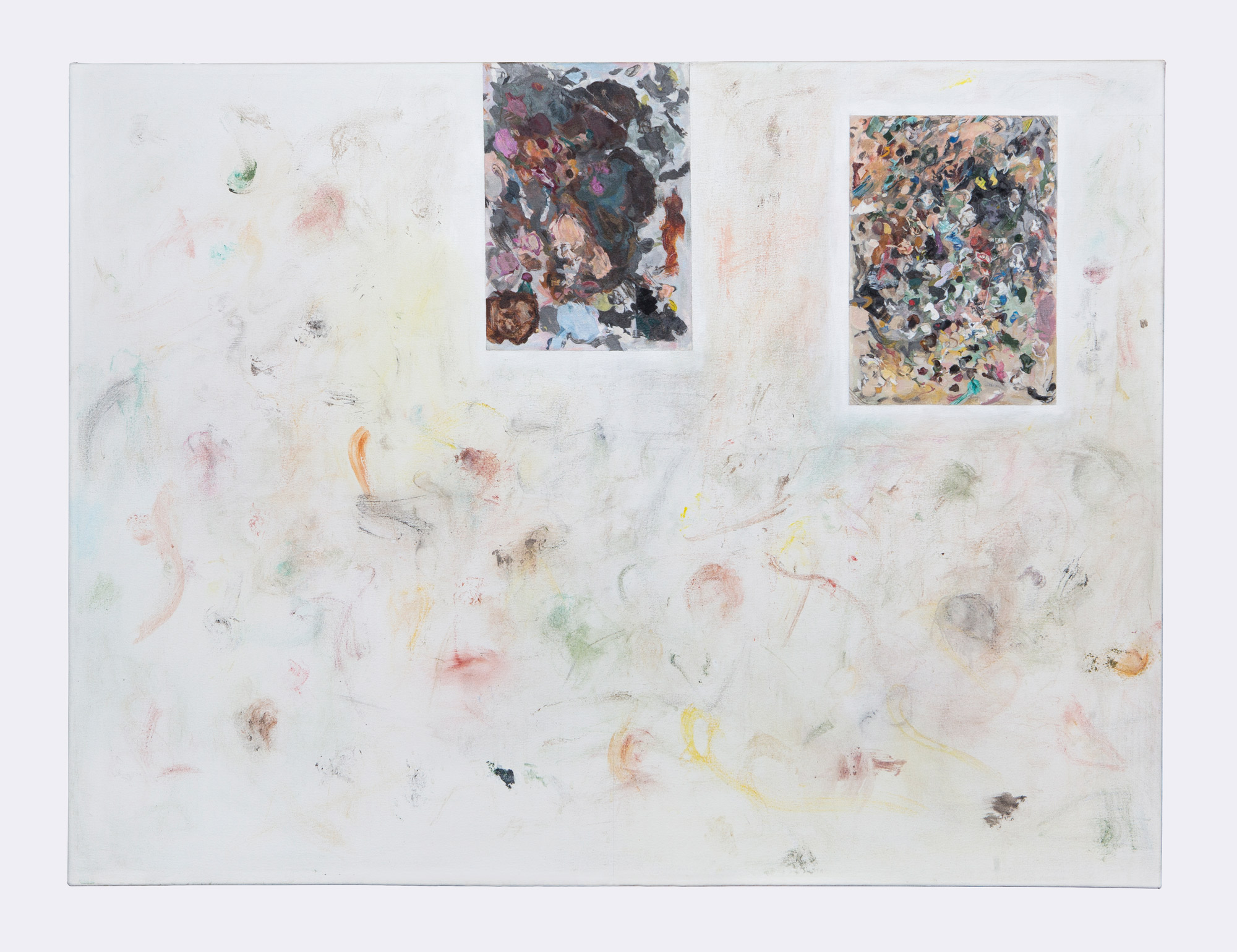 Stuart Brisley: Palettes from The Museum of Ordure 2020 Acrylic on gesso on canvas 92 cm x 122 cm