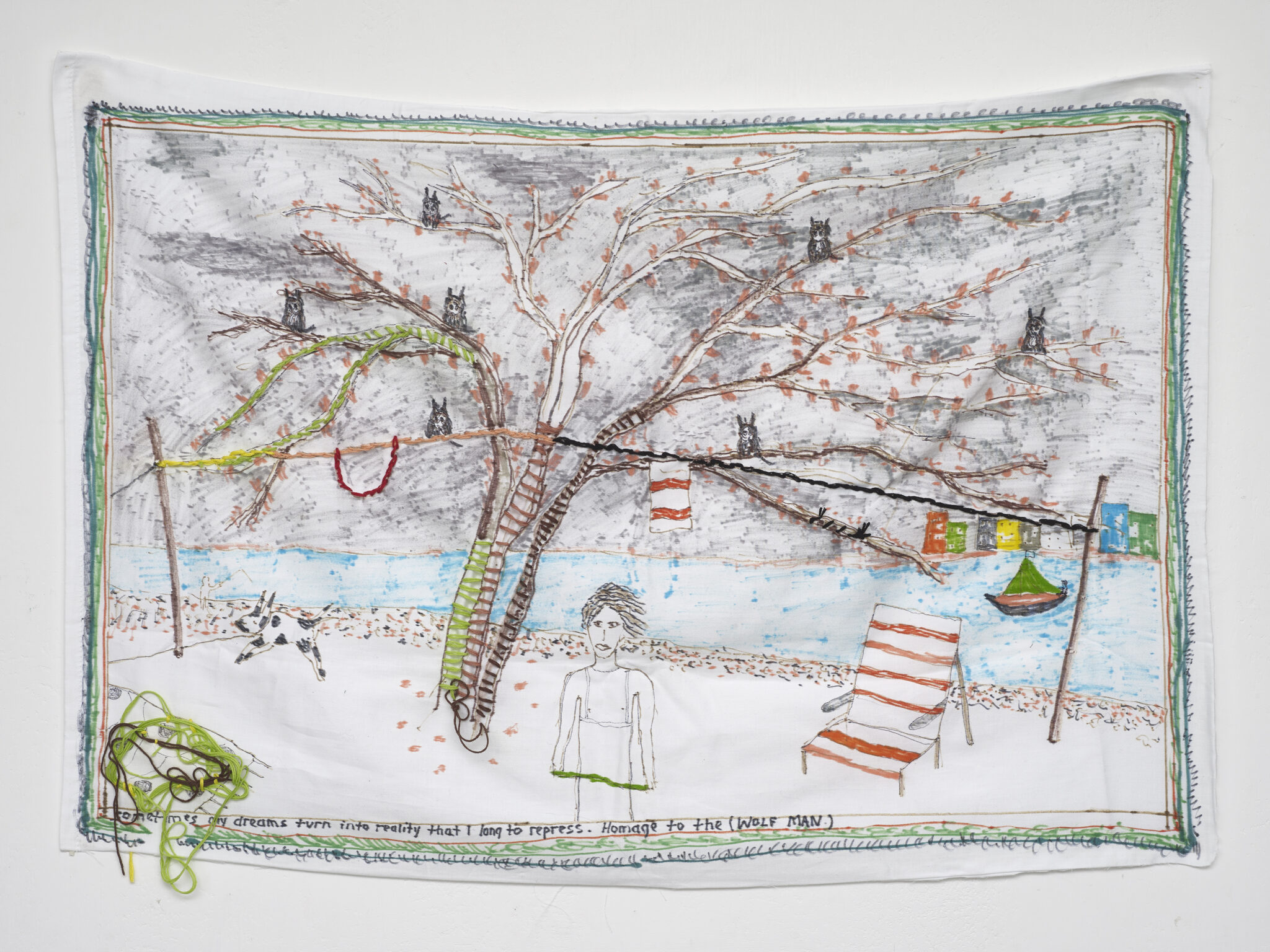 Brian Dawn Chalkley: Freud's Study of the Wolfman 2020 Pencil, felt tip and thread on cotton pillow case 75 cm x 45 cm