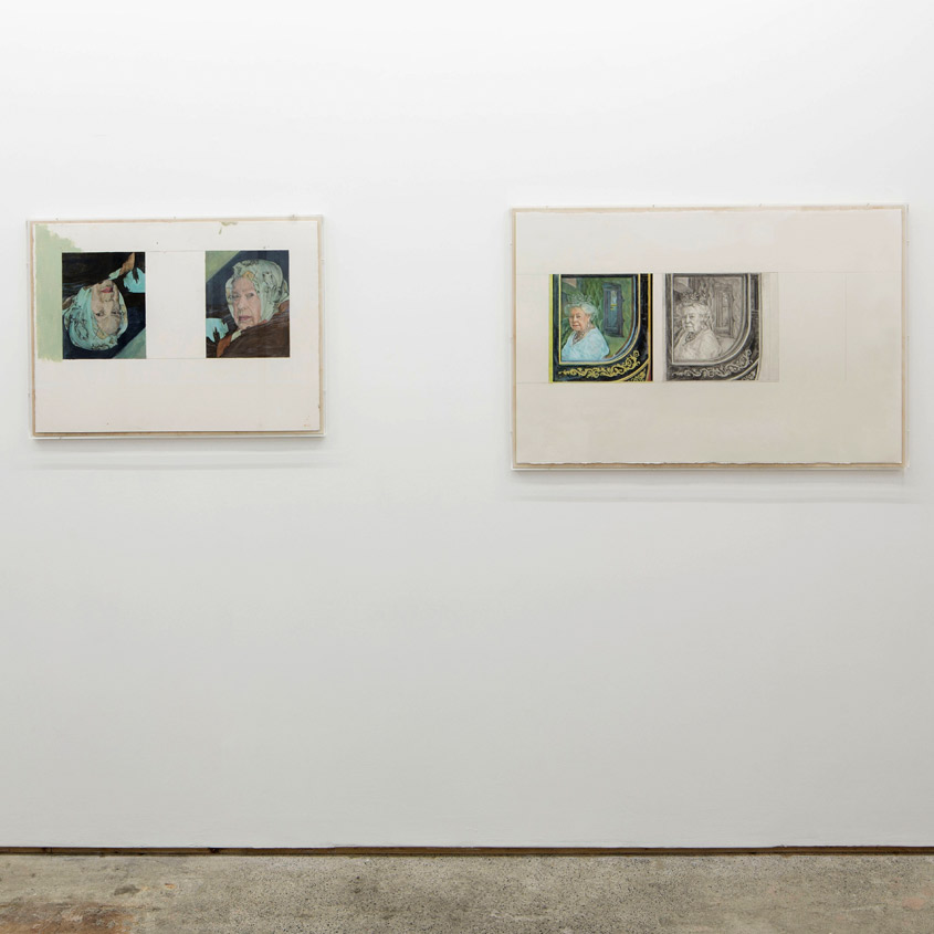 Stuart Brisley: Recent Paintings from the Museum of Ordure at Lungley gallery, London. (left to right; From The Museum of Ordure: In position / Imposition (2020); State Occasion from The Museum of Ordure; (2020)