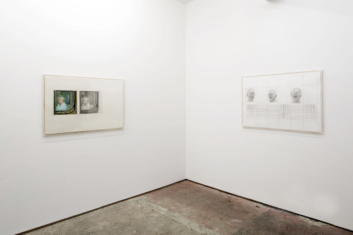 Stuart Brisley: Recent Paintings from the Museum of Ordure at Lungley gallery, London. (left to right; State Occasion from The Museum of Ordure (2020); Heads from The Museum of Ordure (2020)