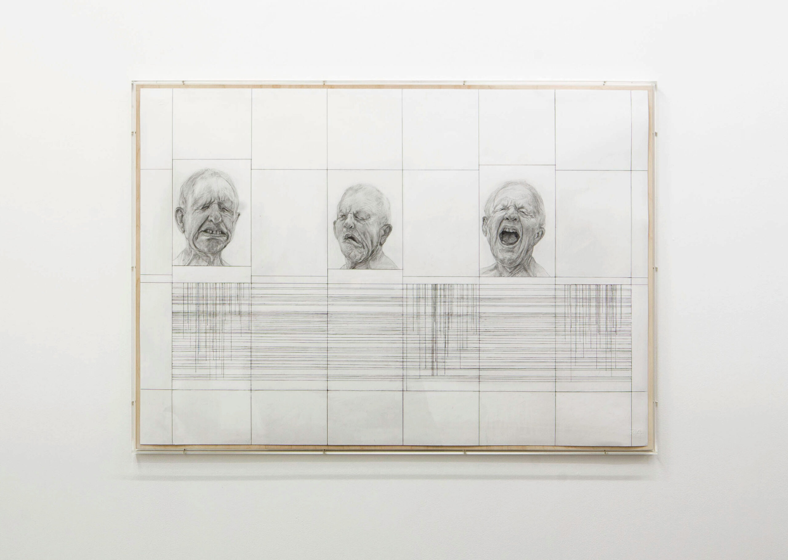Stuart Brisley: Heads from The Museum of Ordure (2020) Graphite on paper 70 cm x 105 cm