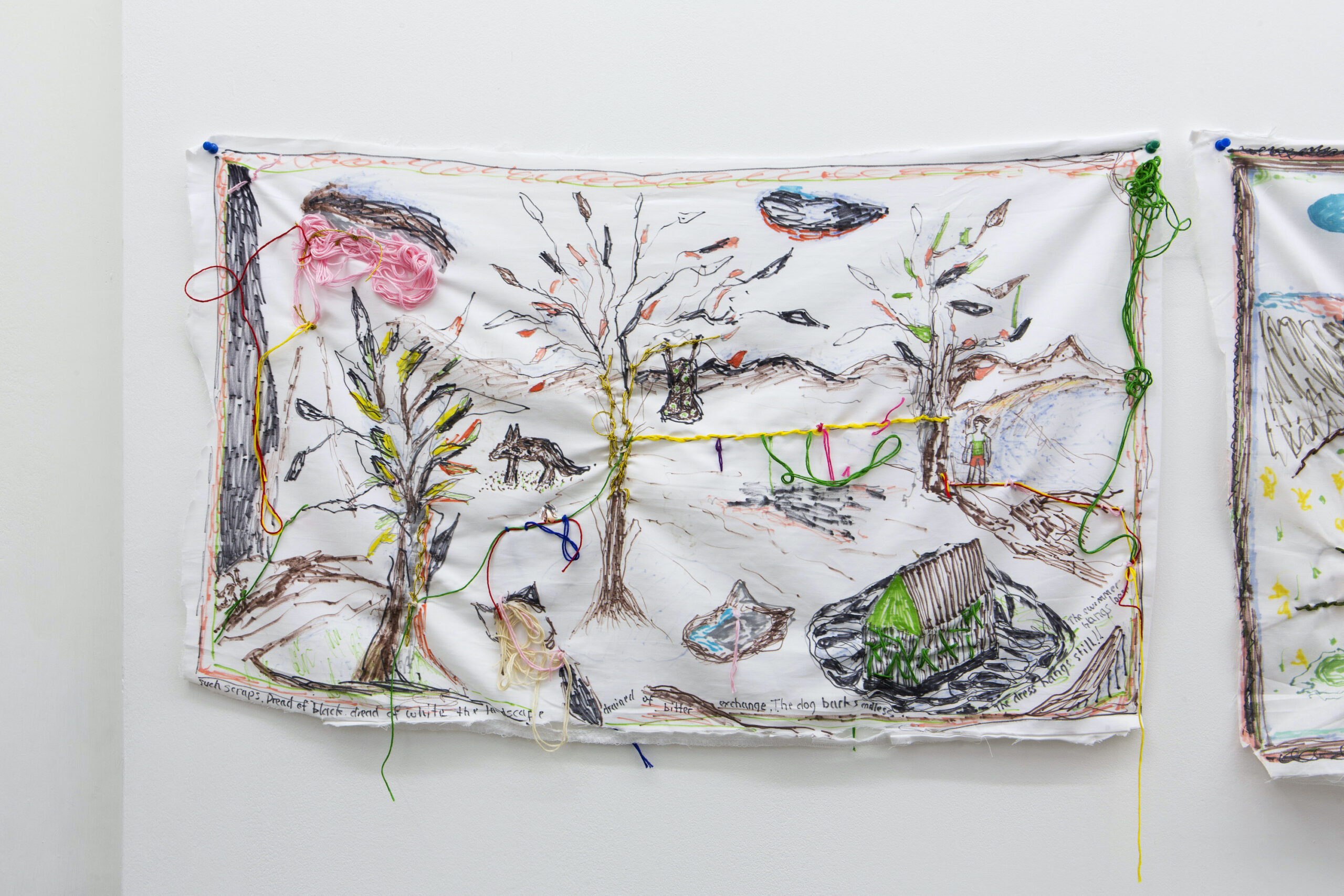 Brian Dawn Chalkley: The dog barks endless (2020) Pencil, felt tip and thread on cotton pillow case 75 cm x 45 cm
