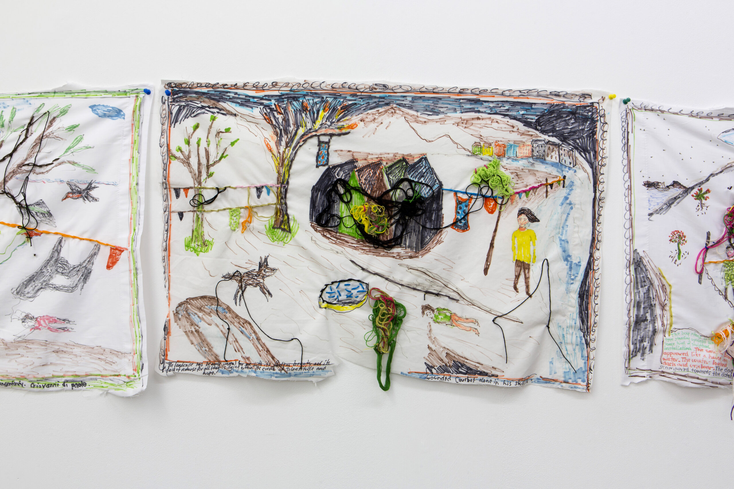 Brian Dawn Chalkley: Wounded Courbet alone in his studio (2020) Pencil, felt tip and thread on cotton pillow case 75 cm x 45 cm