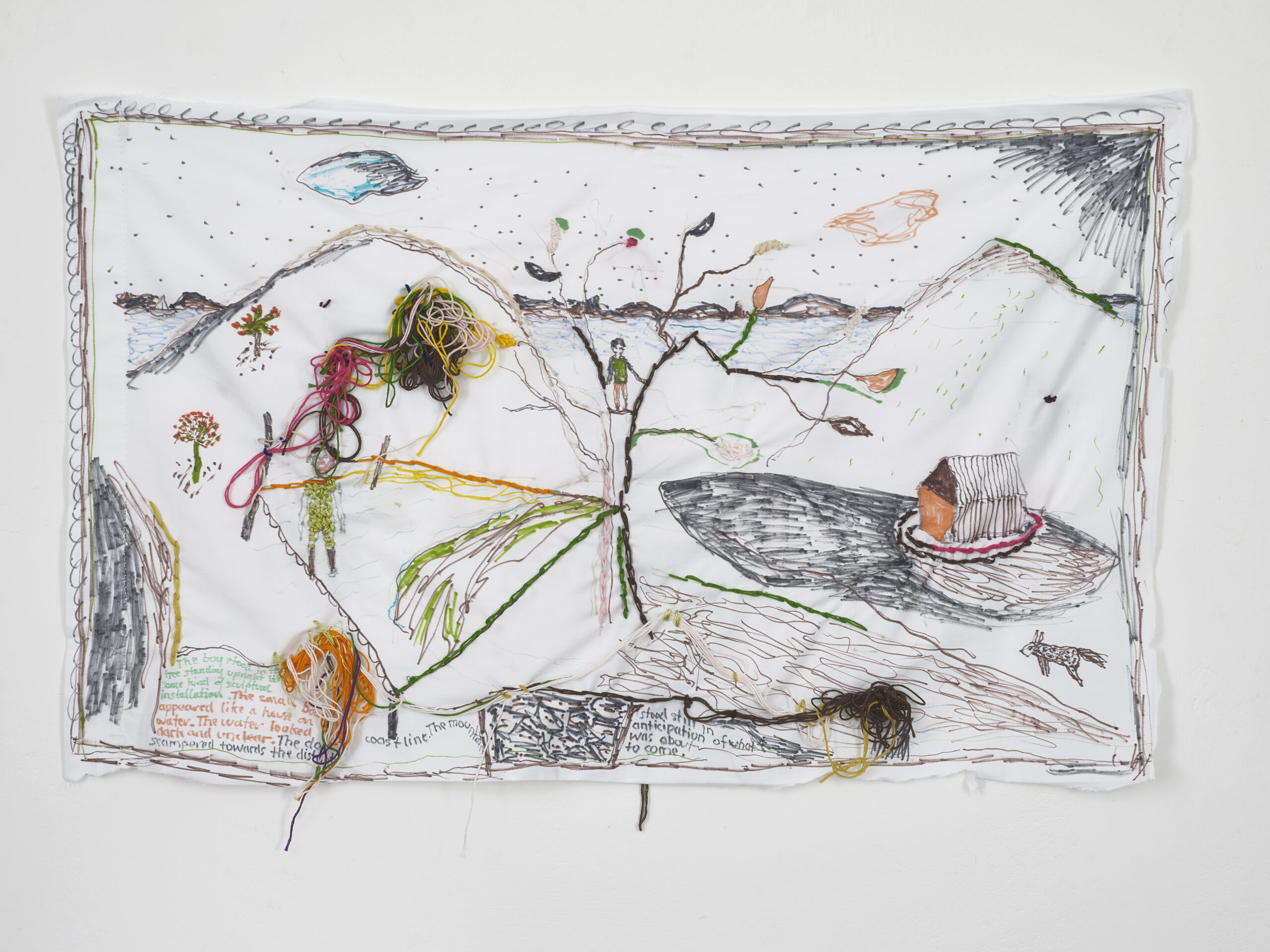 Brian Dawn Chalkley Anticipation of what was about to come (2020) Pencil, felt tip and thread on cotton pillow case, 75 cm x 45 cm.