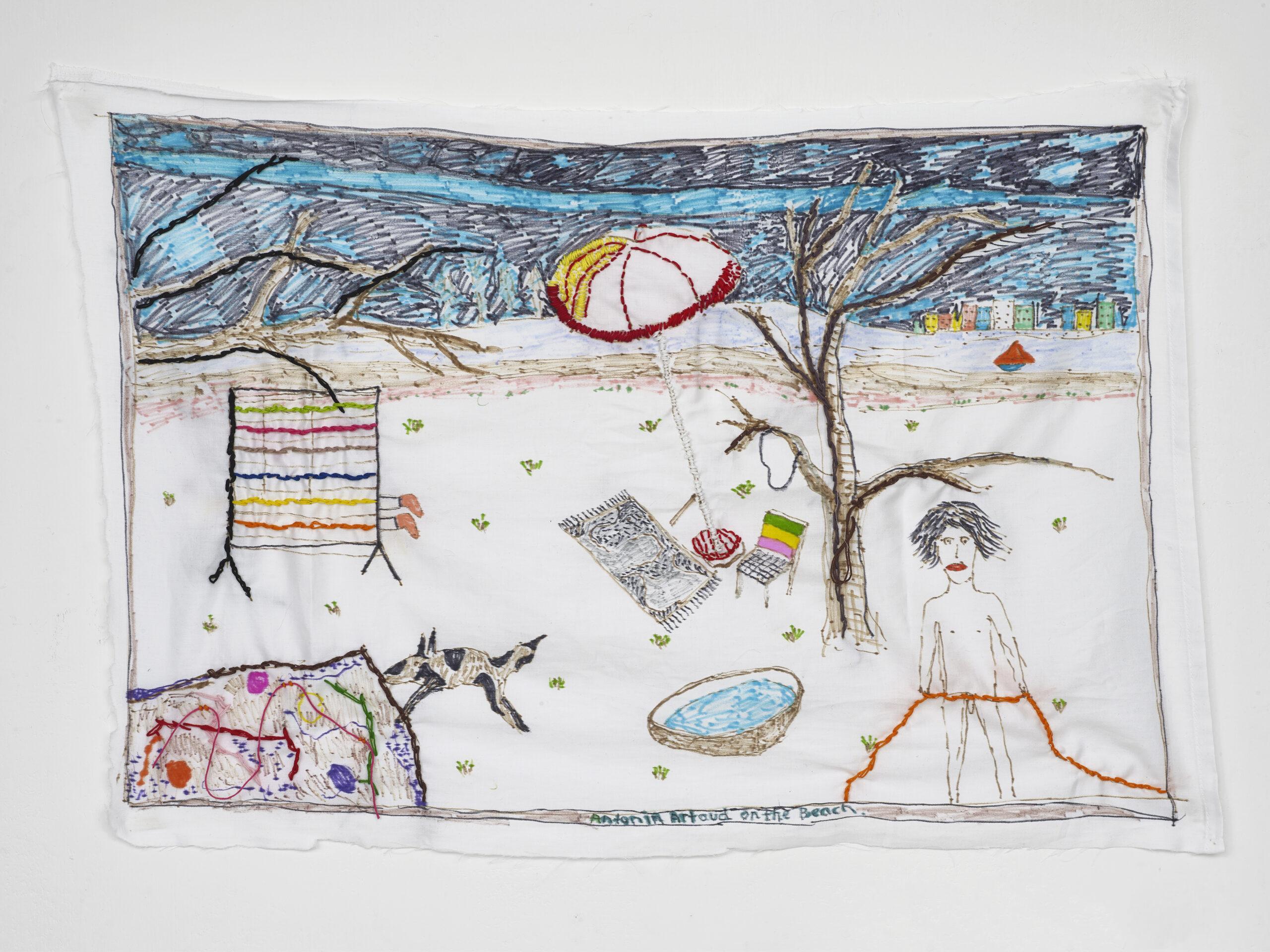 Brian Dawn Chalkley Antonin Artaud on the beach (2020) Pencil, felt tip and thread on cotton pillow case, 75 cm x 45 cm.