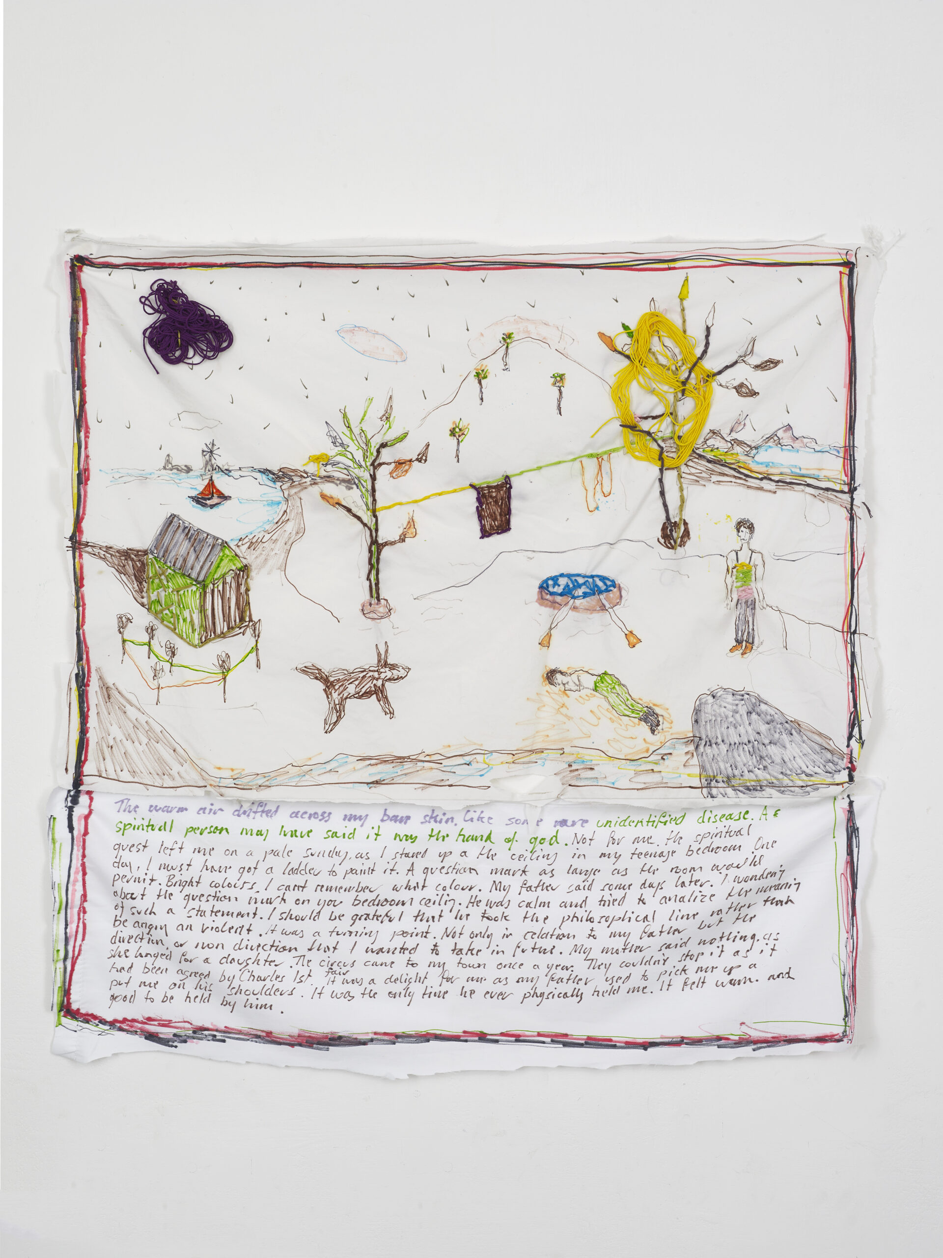 Brian Dawn Chalkley My mother said nothing (2020) Pencil, felt tip and thread on cotton pillow case, 75 cm x 65 cm.