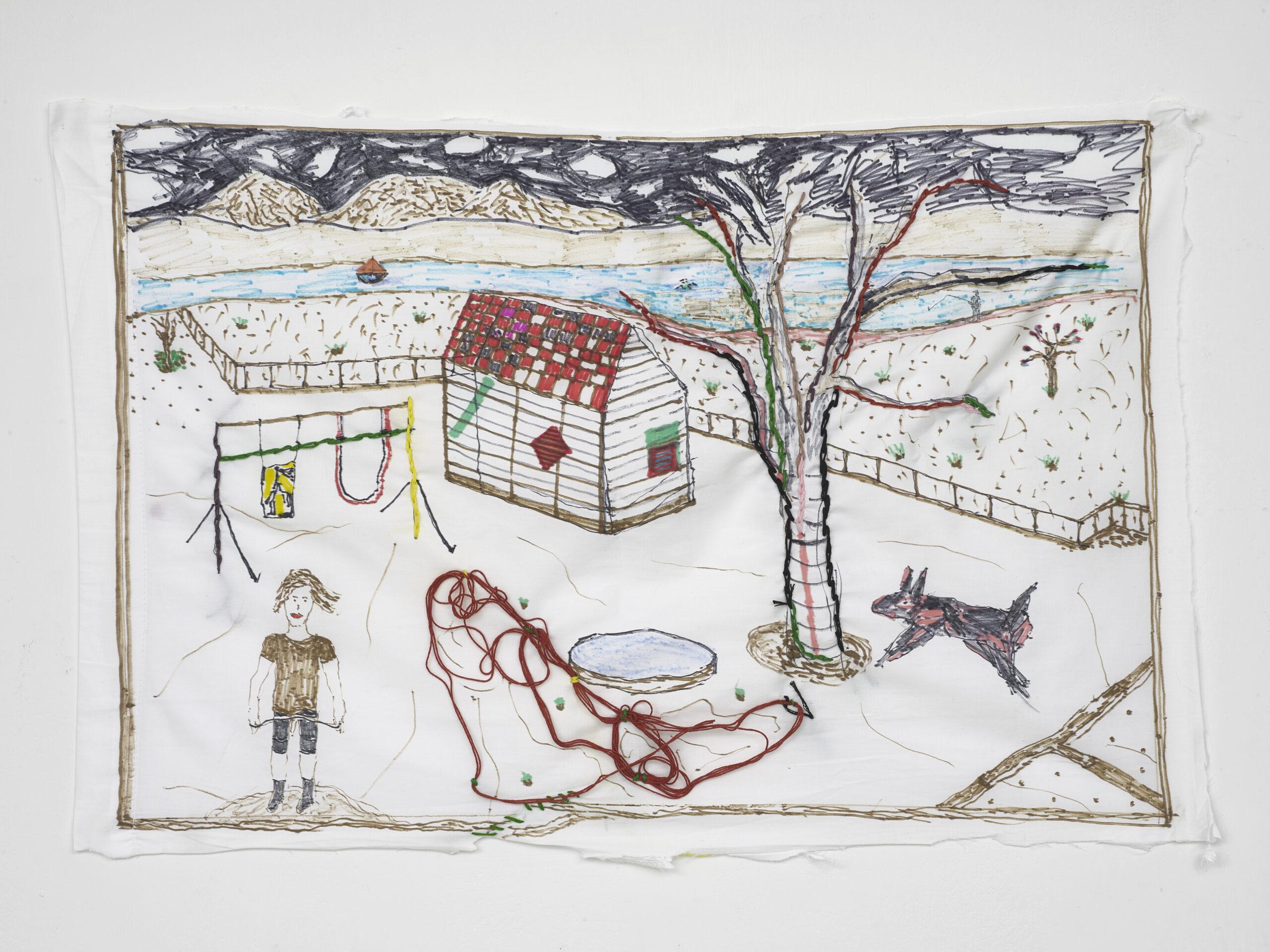 Brian Dawn Chalkley Swedish hut (2020) Pencil, felt tip and thread on cotton pillow case, 75 cm x 45 cm.