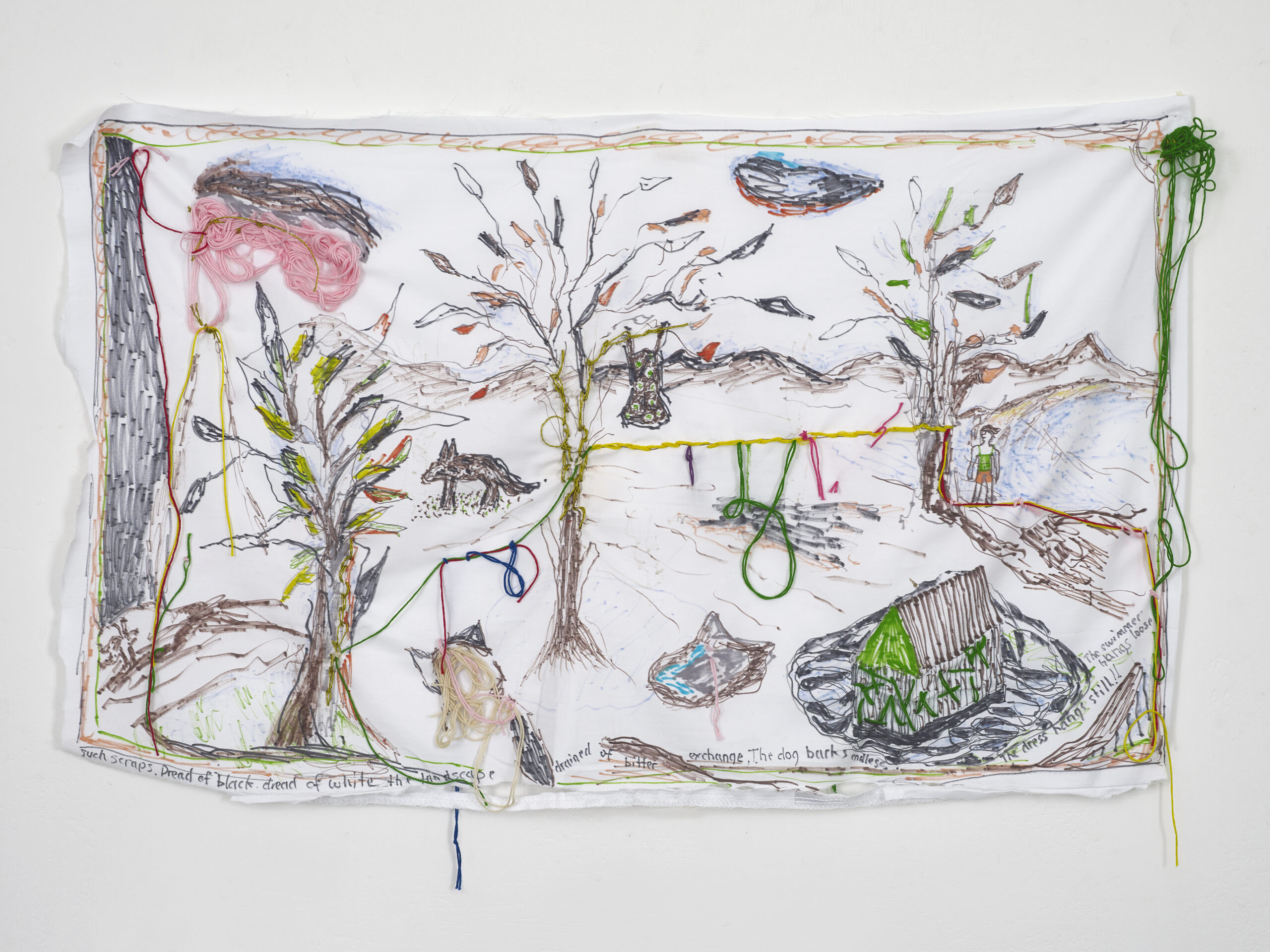 Brian Dawn Chalkley The dog barks endless (2020) Pencil, felt tip and thread on cotton pillow case, 75 cm x 45 cm.