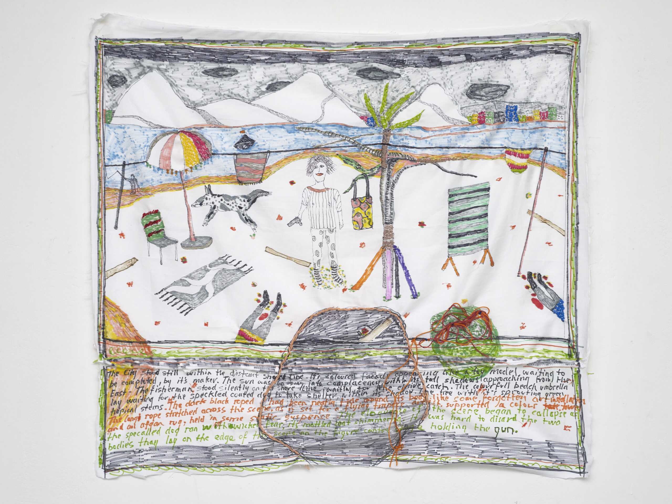 Brian Dawn Chalkley: Waiting for the elusive catch (2020) Pencil, felt tip and thread on cotton pillow case, 75 cm x 65 cm.