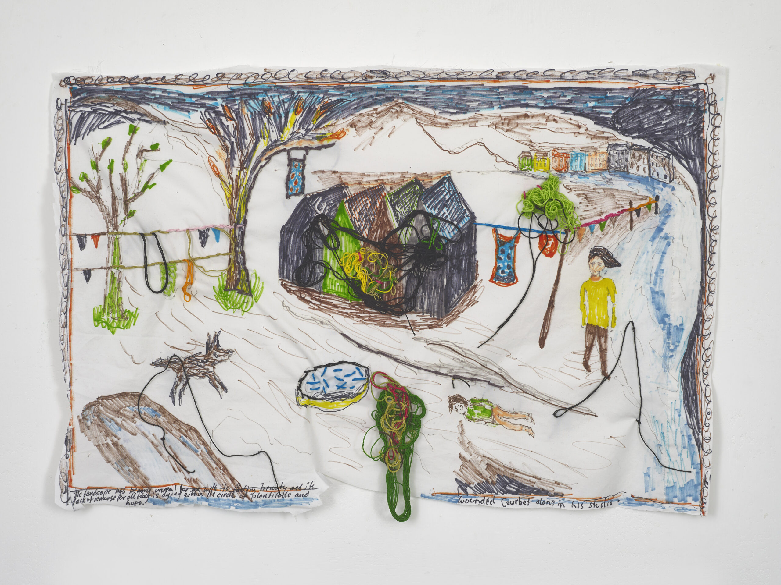 Brian Dawn Chalkley: Wounded Courbet alone in his studio (2020) Pencil, felt tip and thread on cotton pillow case, 75 cm x 45 cm
