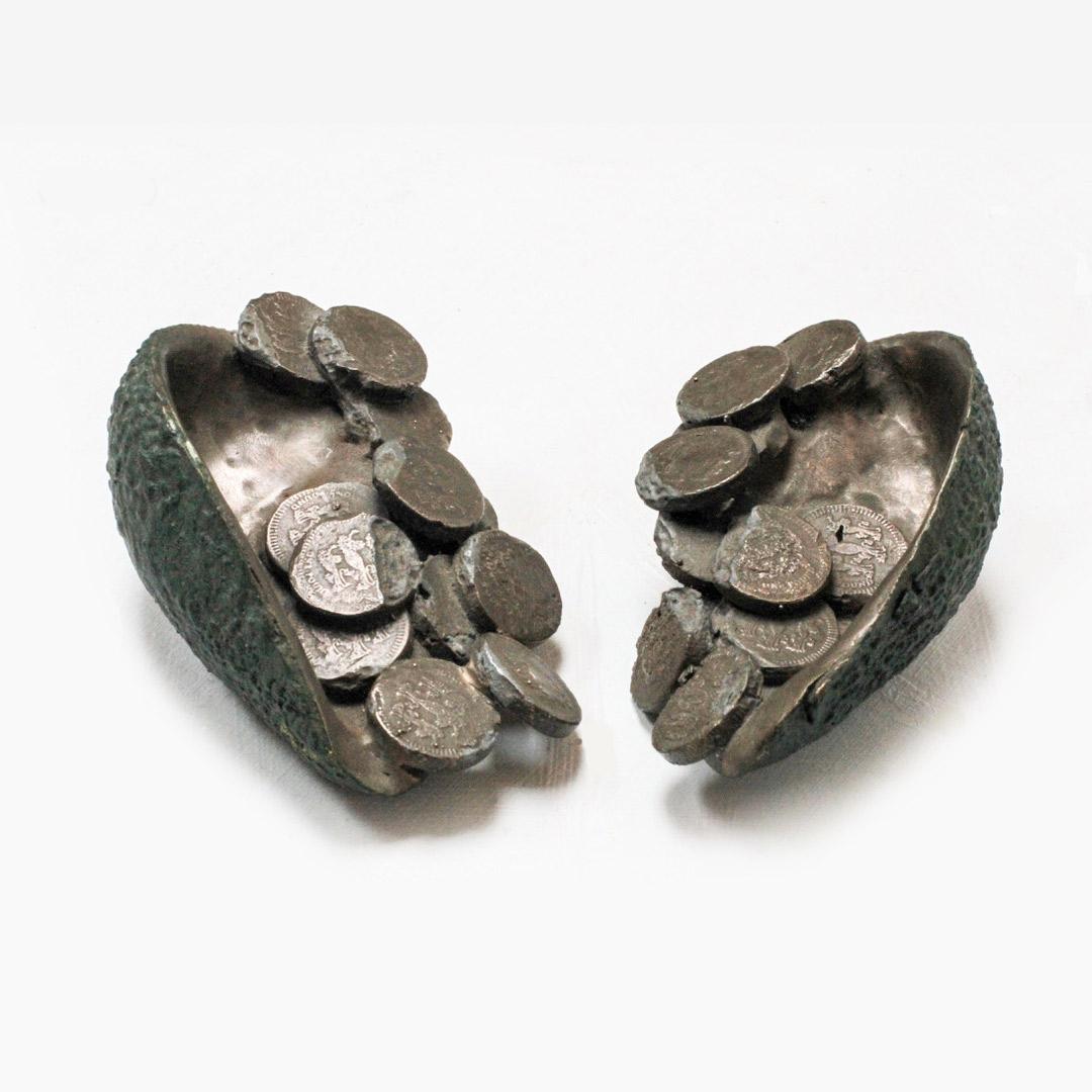 Lana Locke Avocado and coins (ii) (double) (2012) Bronze 5 cm x 16 cm x 12 cm