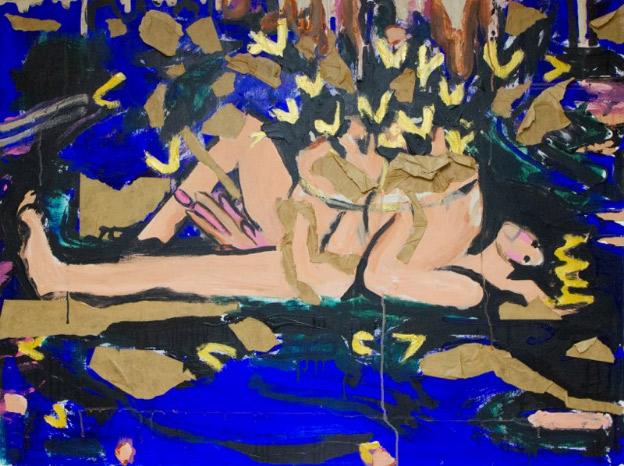 Lana Locke Four and Twenty Blackbirds (2019) Acrylic and framer's tape on canvas 92 cm x 122 cm