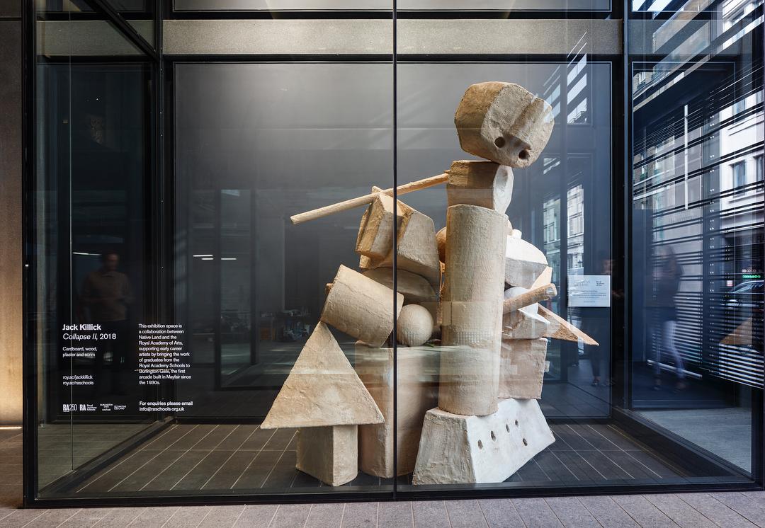 Exhibition view: Jack Killick Collapse (2019) at Burlington Arcade, London.