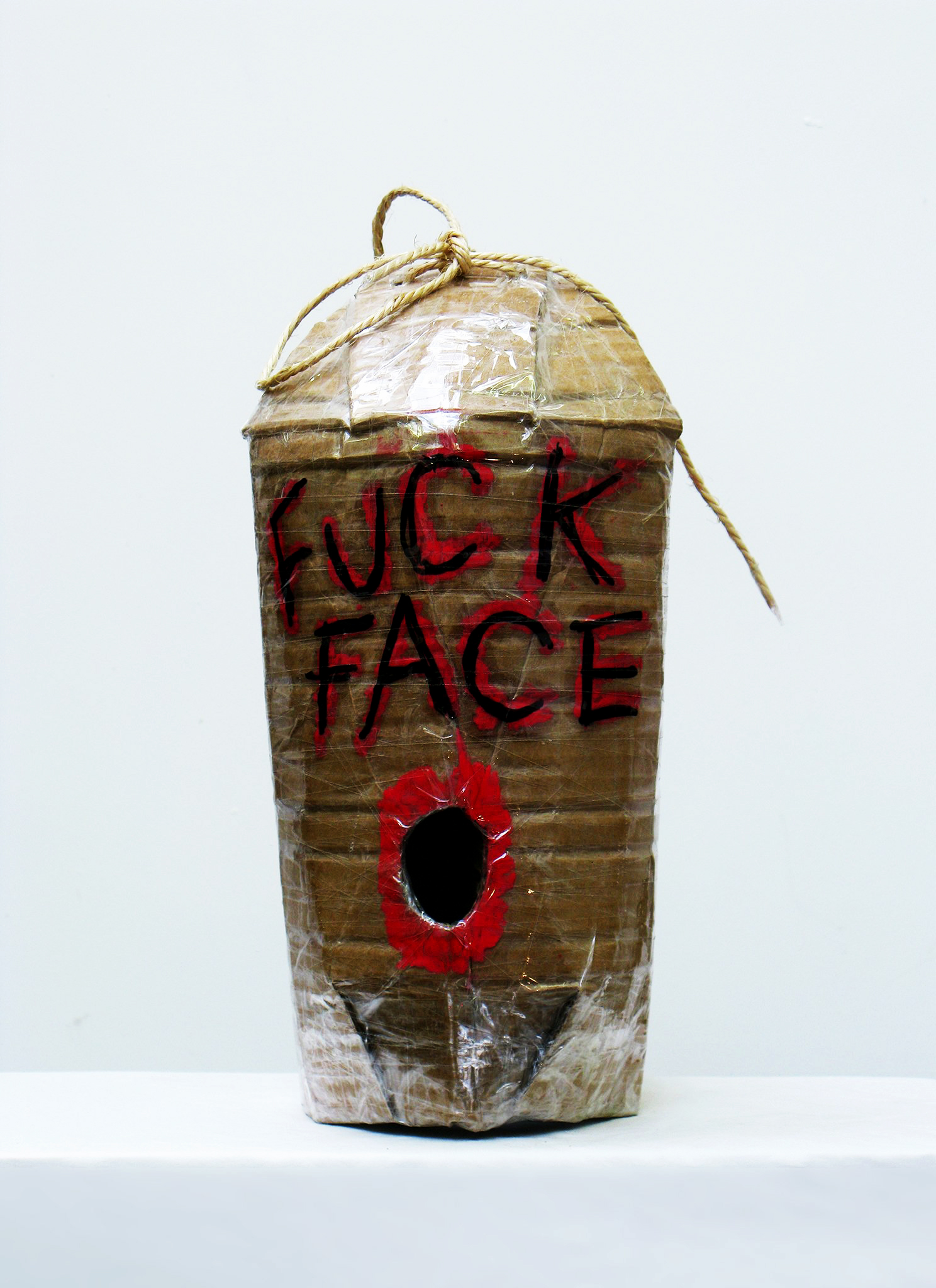 David Harrison: Pass the Parcel (Mobile Glory Hole) (2012). Tape, cardboard and mixed media 32 x 17 x 25 cm 12 5/8 x 6 3/4 x 9 7/8 in