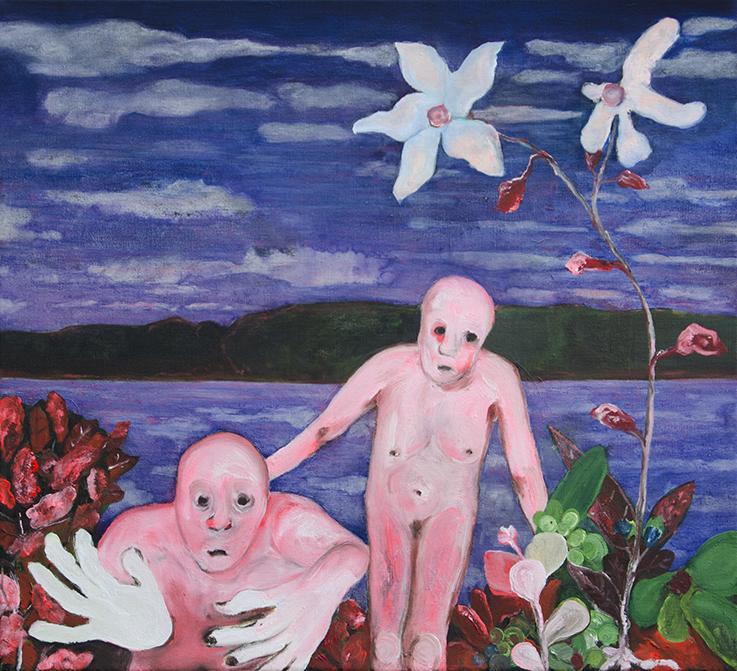 Andriu Deplazes: Zwei Koerper und Pflanzen (2018) (50cm x 55cm)