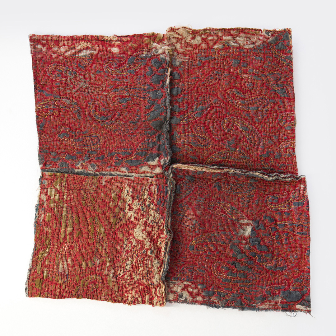 Maya Balcioglu: Untitled (Red quilt)(2021)Cotton embroidery and pva on cotton and wool,90 cm x 86 cm.