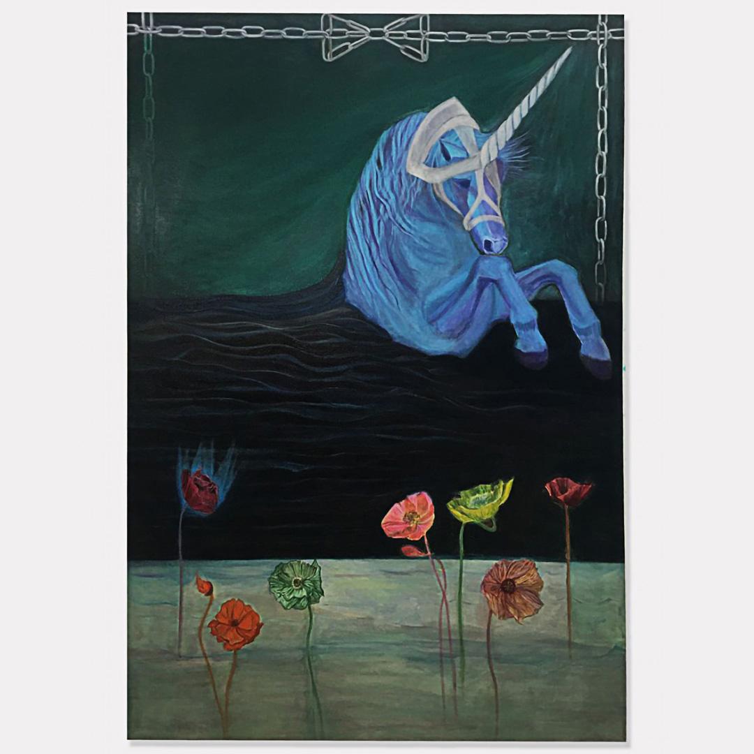 Kiarash Khazaei - Medicine Call (2021) Oil on canvas, 111 cm x 160 cm.