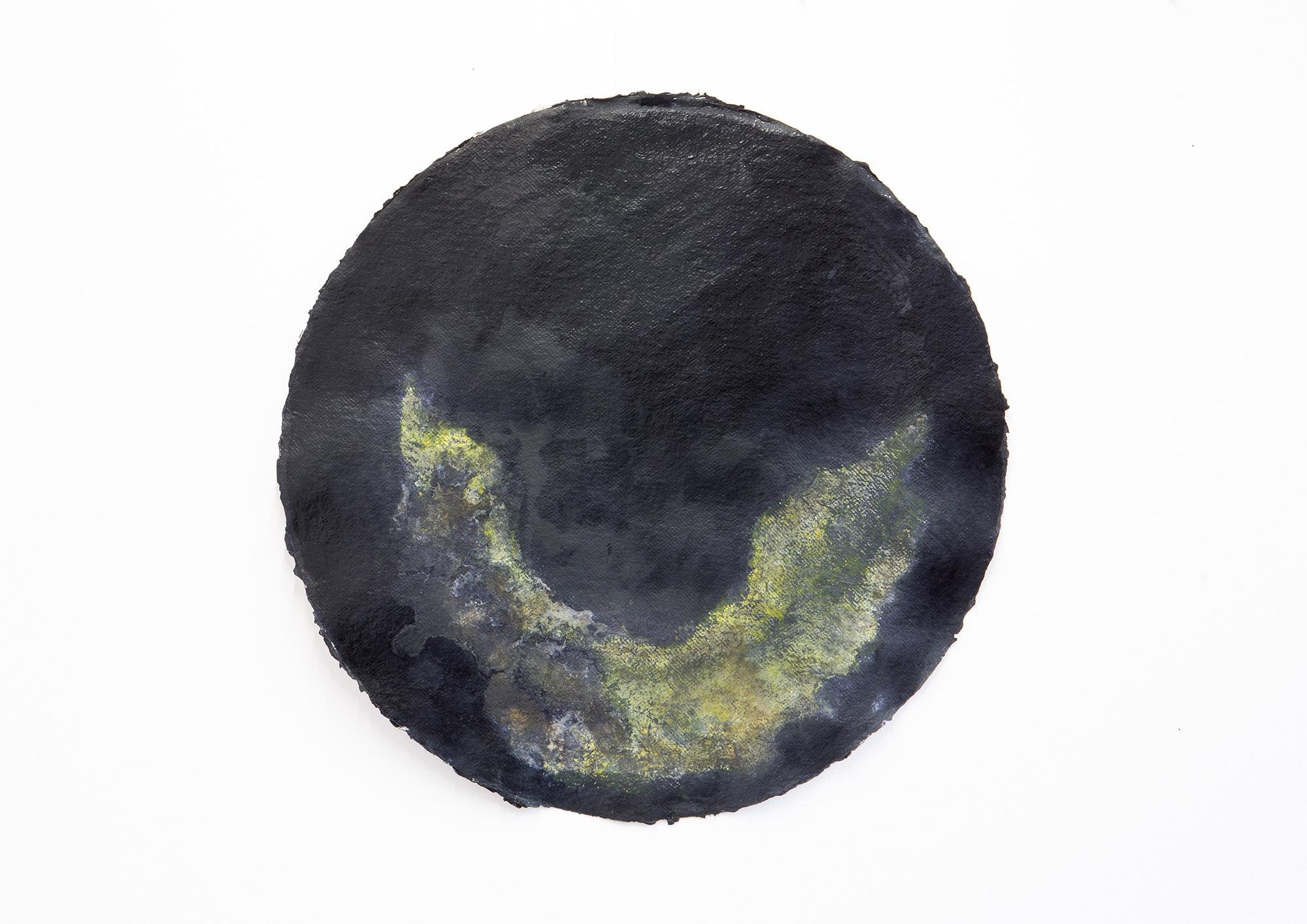 Maya Balcioglu Untitled (3 Tondos) (2021) Ink, etching ink, kaolin on paper 55 cm (Diameter) each.