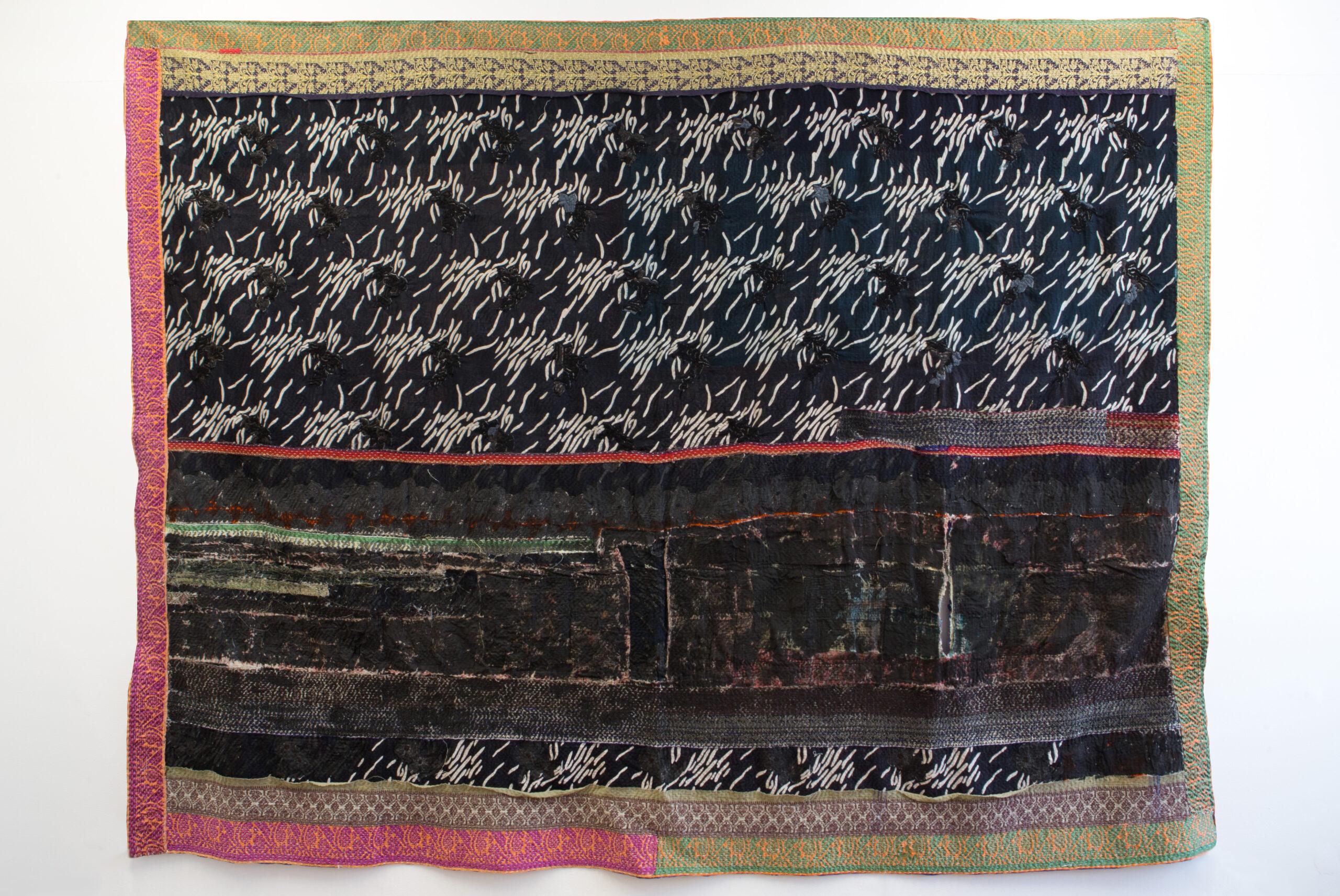 Maya Balcioglu Untitled (Bed Piece 4) (2021) Ink on found quilt, embroidery in wool and cotton thread, 150 cm x 200 cm