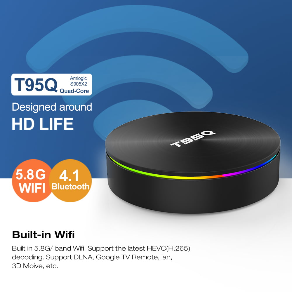 Firefly T95Q Android Smart TV Box T95Q 64bit Quad S905X2 2Ghz 4G DDR3 32G flash Android 8.1 OS 5G 2.4G 12