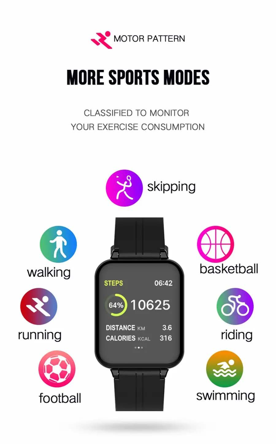 B57 1.3 inch Color Screen HR Blood Pressure Weather Remind Sport Smart Watch (5)