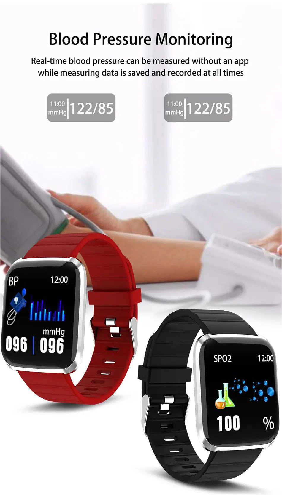 116 pro smart watch 1.3 inch heart rate blood pressure watch (2)