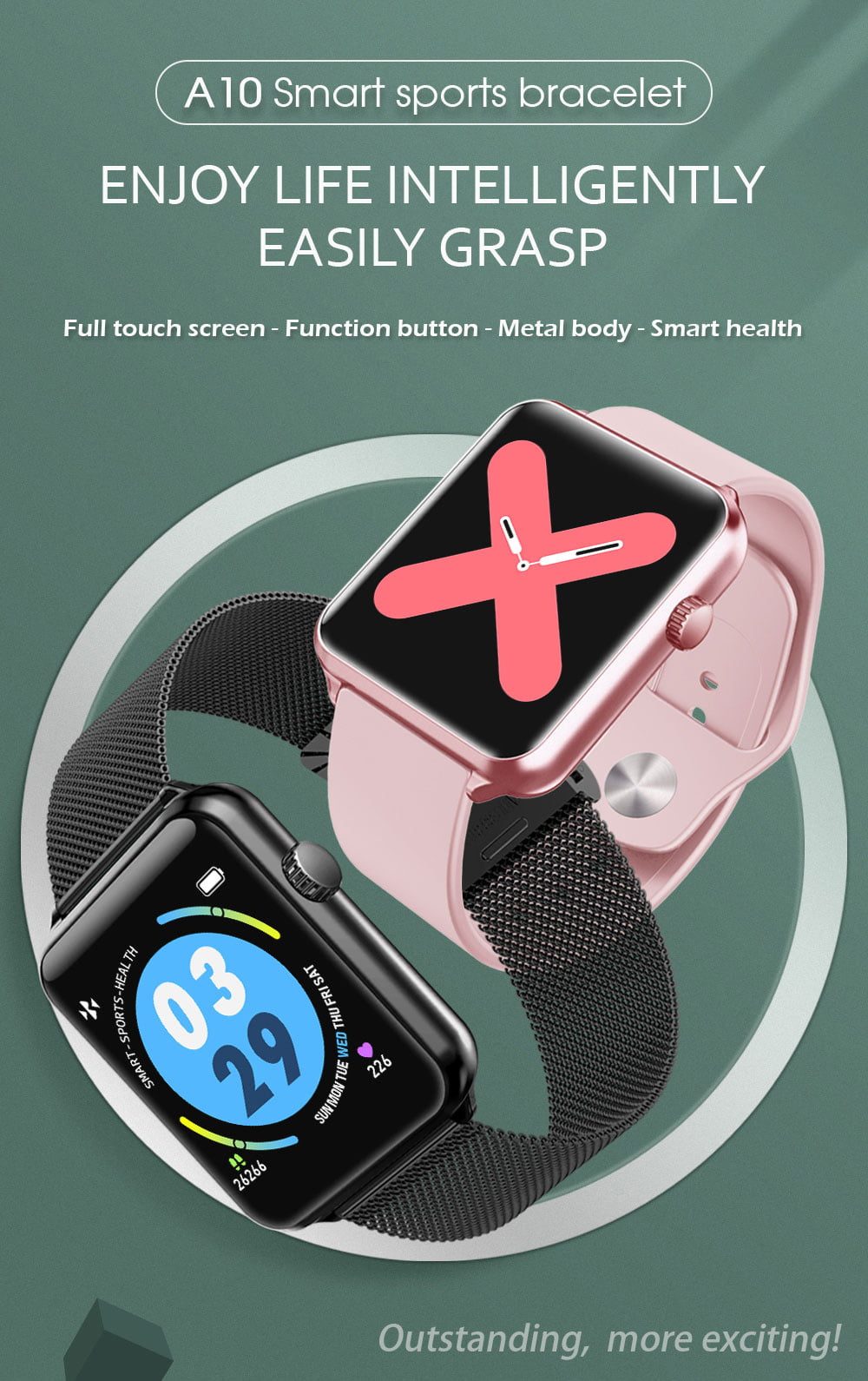A10 1.3 inch full touch screen wristband (1)