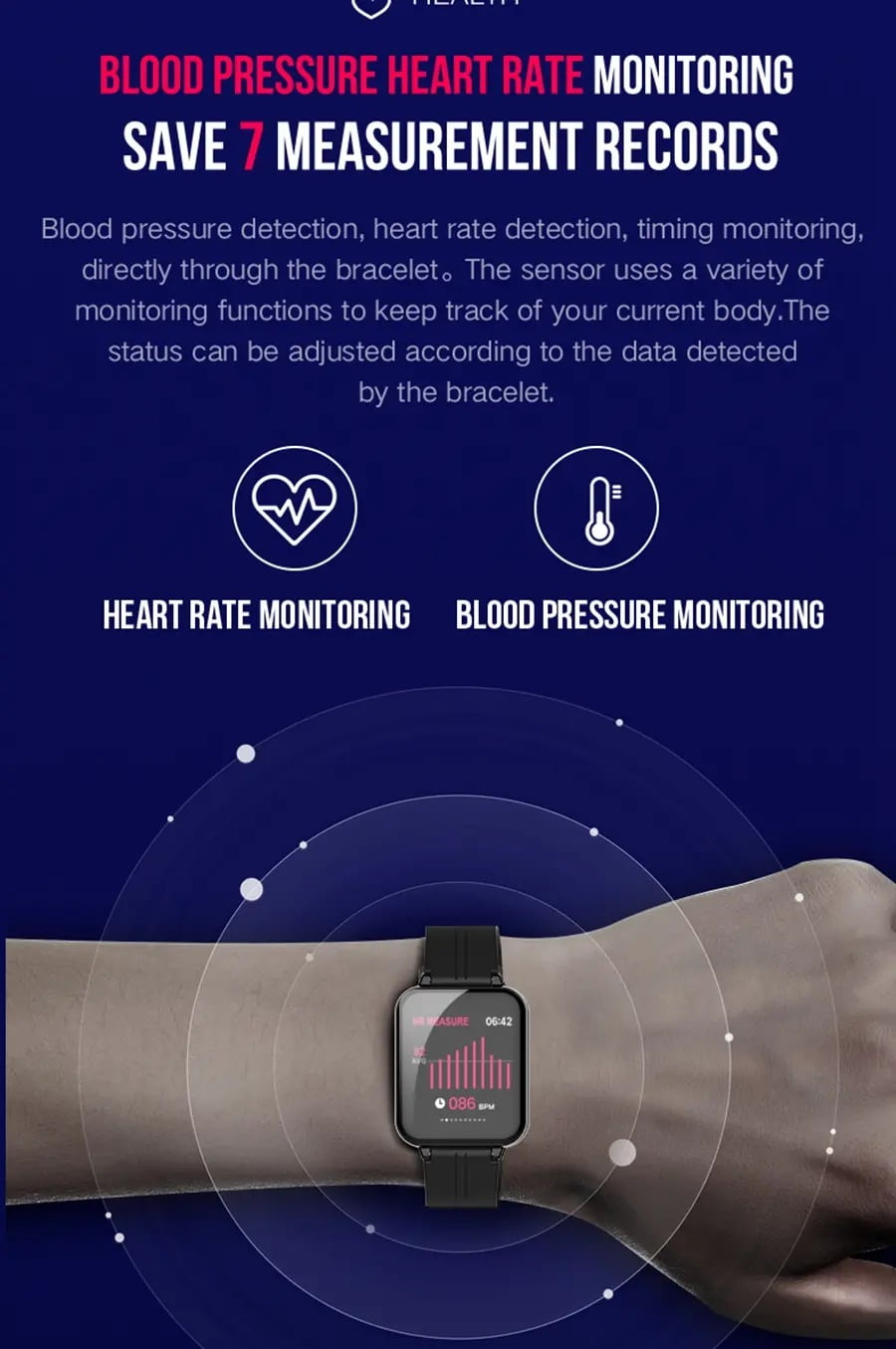 B57 1.3 inch Color Screen HR Blood Pressure Weather Remind Sport Smart Watch (12)