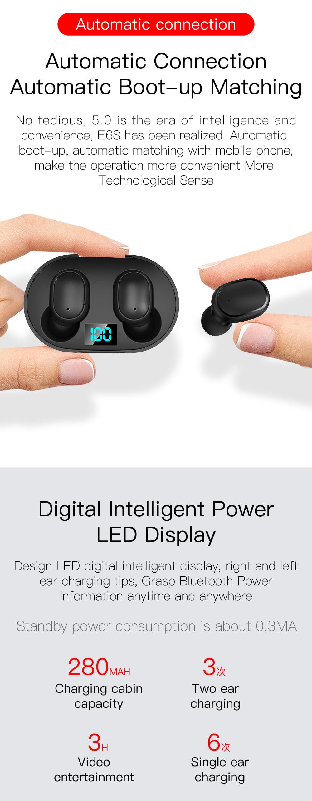 E6s tws bluetooth 5.0 earbuds digital display earphone (3)