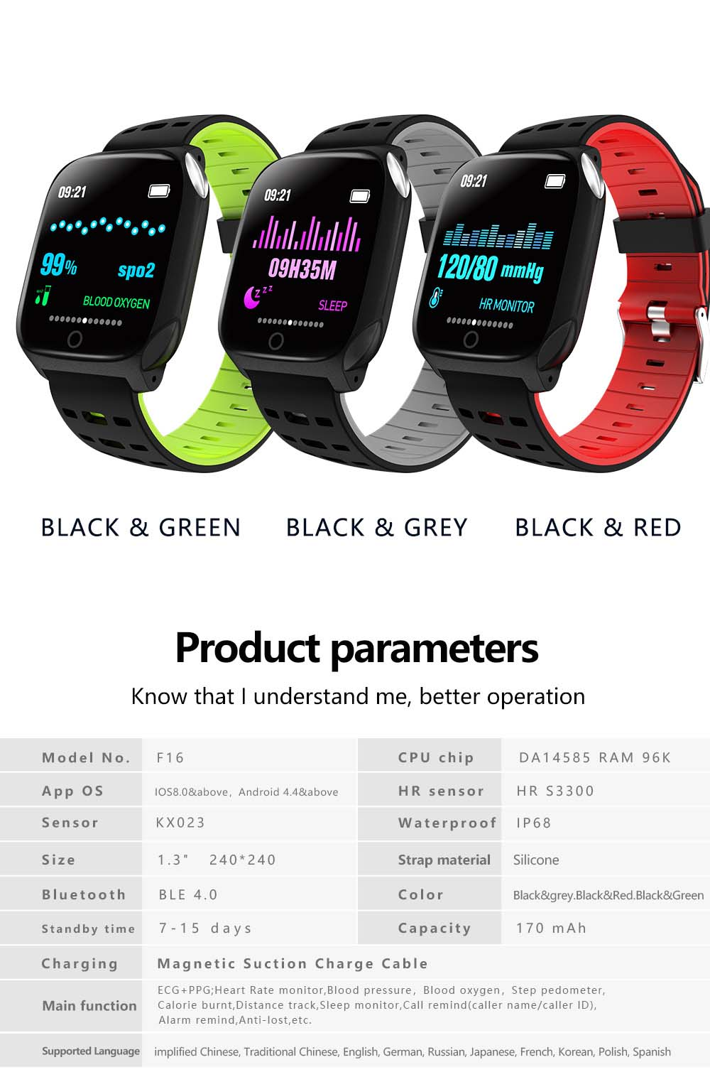 F16 ECG PPG Smart Watch heart rate blood pressure oxygen monitor (10)