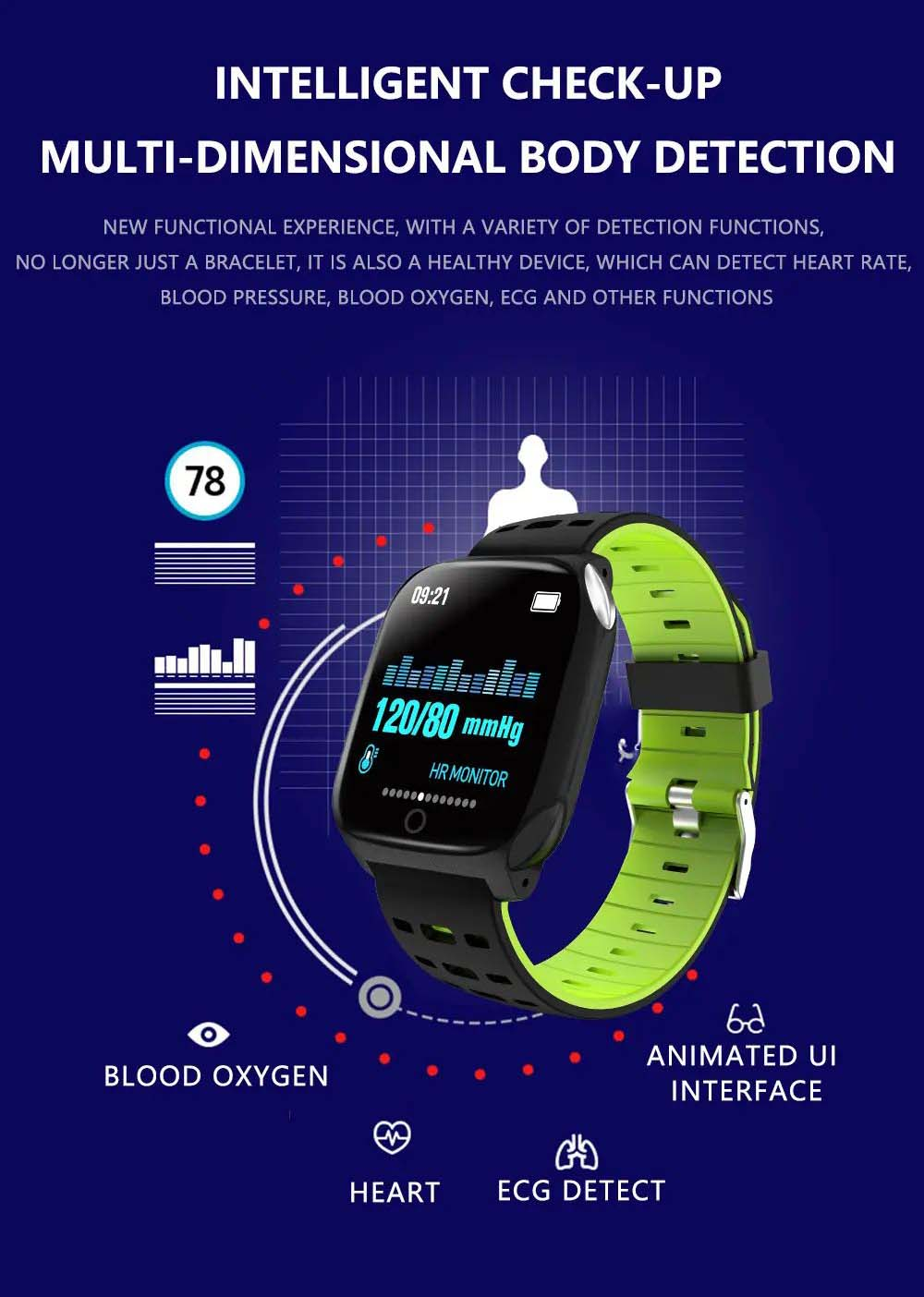 F16 ECG PPG Smart Watch heart rate blood pressure oxygen monitor (3)