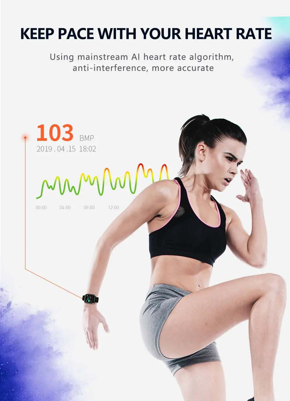 F16 ECG PPG Smart Watch heart rate blood pressure oxygen monitor (4)