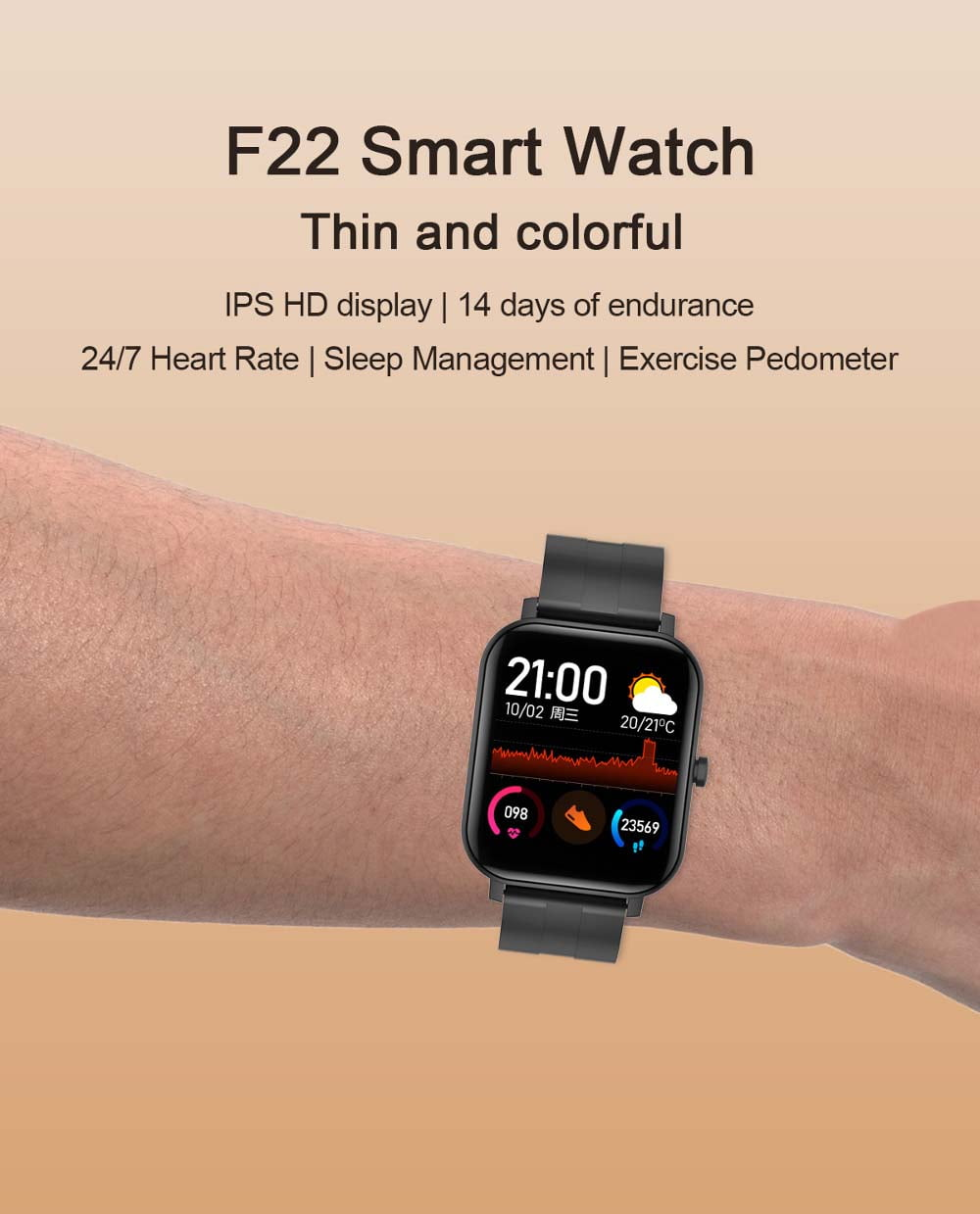 F22 Smart Watch 1.4inch wristband body temperature heart rate (11)