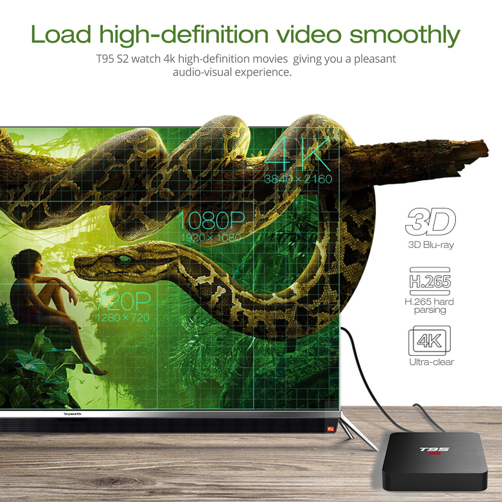 Firefly T95 S2 Android Smart TV Box S905W64bit Quad Core 2Ghz 2G DDR3 16G flash Android 7.1 10