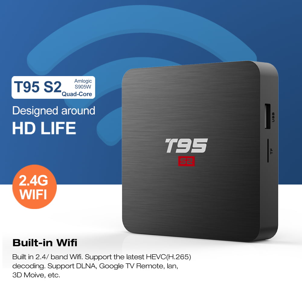Firefly T95 S2 Android Smart TV Box S905W64bit Quad Core 2Ghz 2G DDR3 16G flash Android 7.1 8