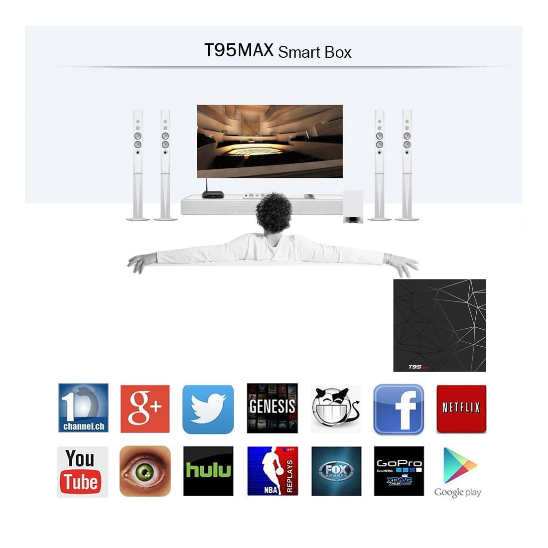 Firefly T95 max Android Smart TV Box H6 Quad core cortex A53 4G DDR3 32G flash Android 8.1 OS 11